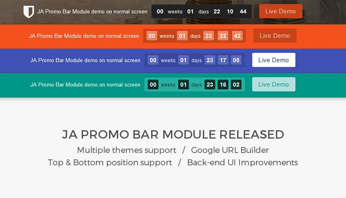 Updates: JA Promo bar module released with new features and improvement