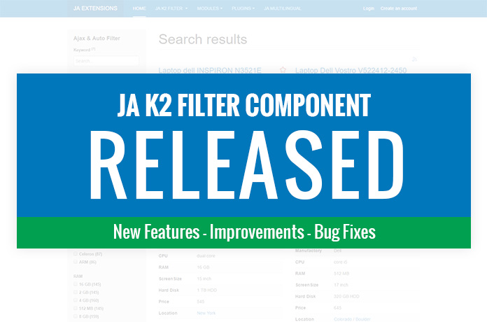 New features release : JA K2 filter and search component for Joomla