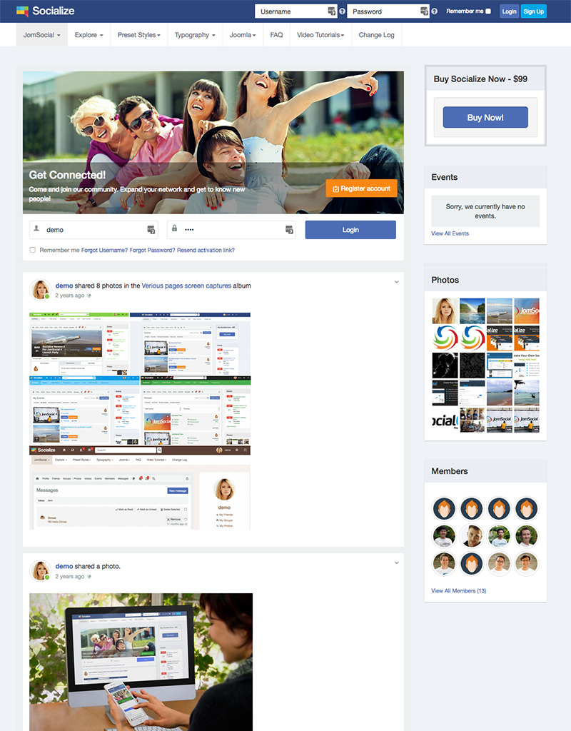 Social Joomla template for Jomsocial