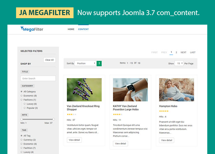Joomla custom field filter added in JA MegaFilter - Demo