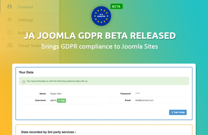 JA Joomla GDPR extension Beta Released