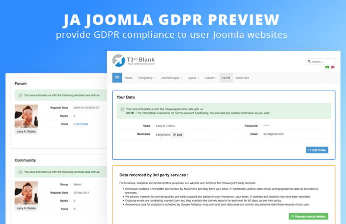 Preview : JA Joomla GDPR extension