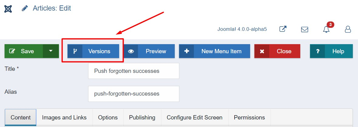 Joomla 4 content versioning options