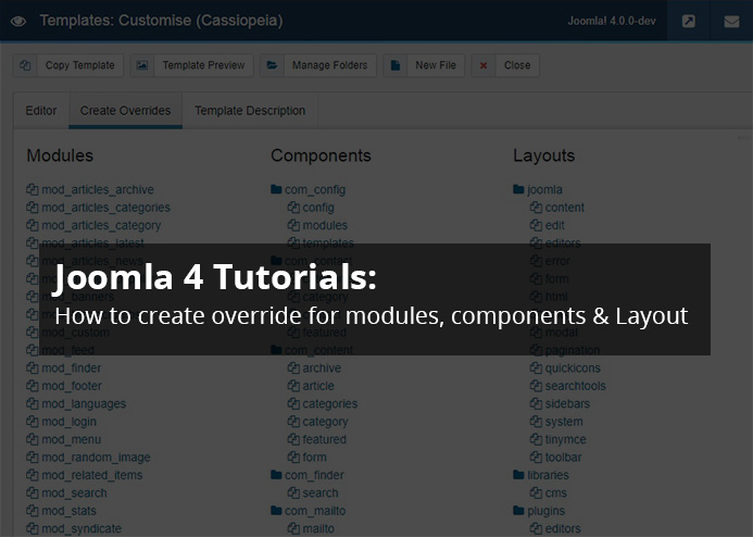 Joomla 4 tutorials: How to create override for modules, components and layout