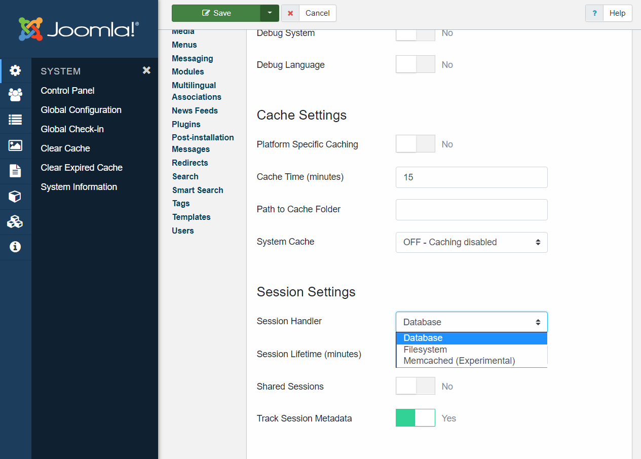 session handler in Joomla 4