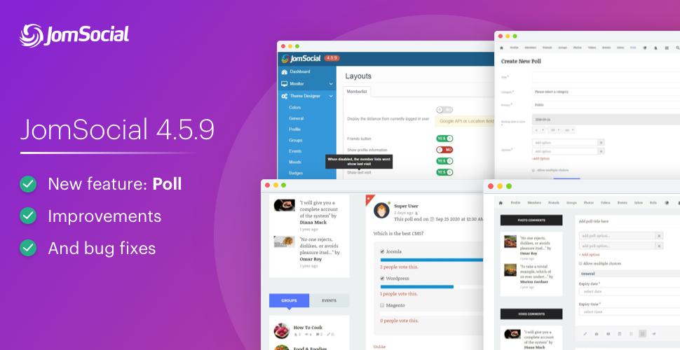 Jomsocial 4.5.9 released for new feature: Poll , improvements and bug fixes