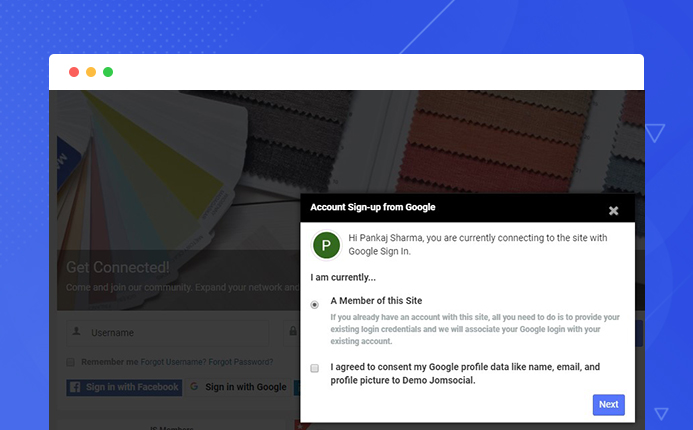 Google singup option in Jomsocial- Joomla community extension