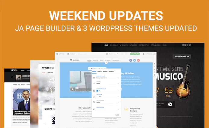 Weekend Updates: JA Joomla Page Builder and 3 wordpress themes updated