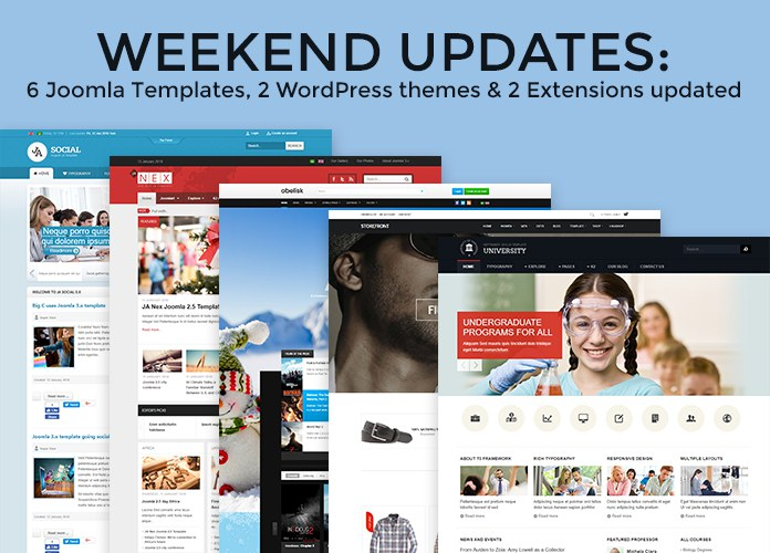 Weekend Updates: 6 Joomla templates, 2 Joomla Extensions and 2 WordPress themes updated