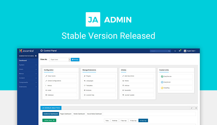 Joomla Admin template - JA Admin stable version