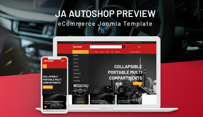 JA Autoshop eCommerce Joomla Template and GK Decor
