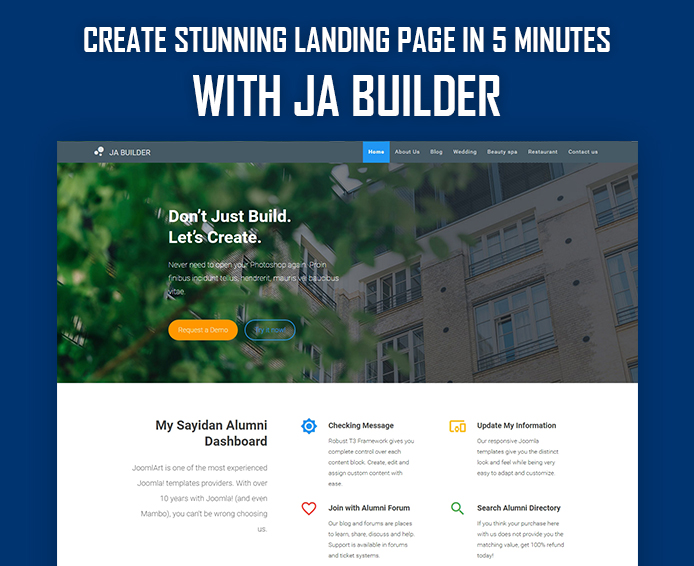 Joomla Page Builder - Create stunning landing page in 5 minutes