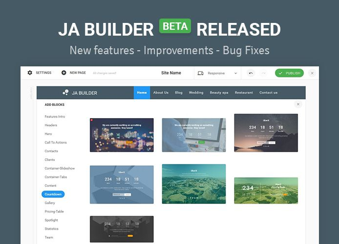 JA Joomla Page Builder now with undo redo, export