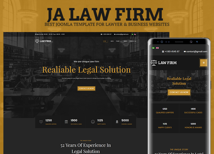 Review | Features : Best lawyer and business Joomla template - JA Law Firm