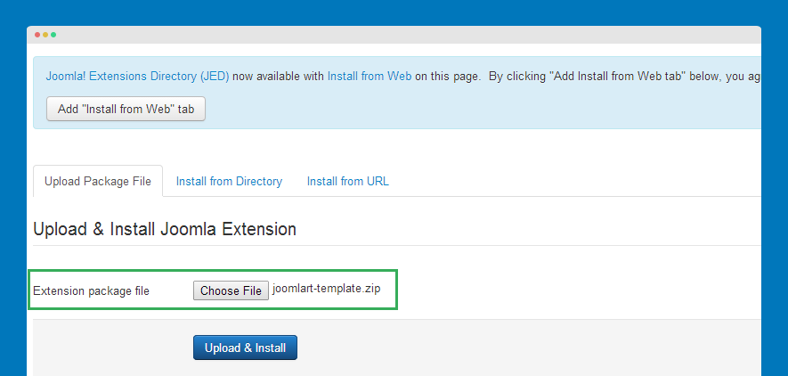install template into your joomla system