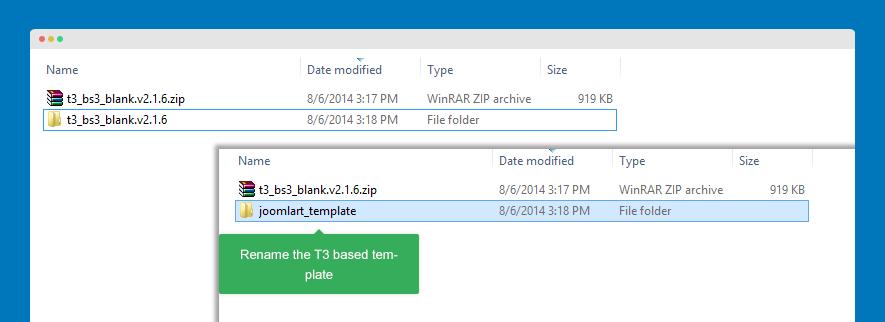 rename T3 template folder