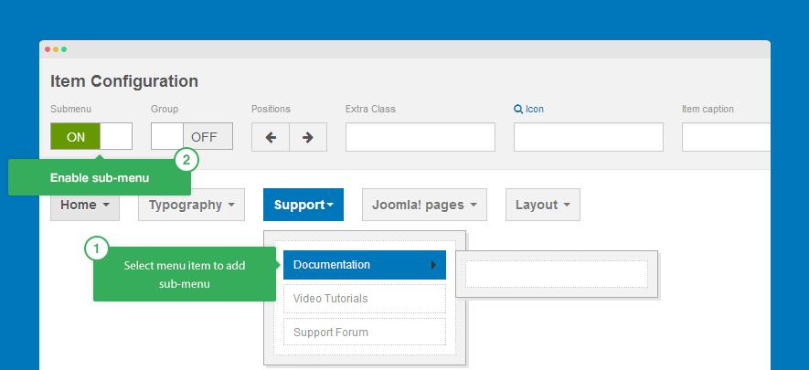 Menu system - T3 - Joomla Template Framework
