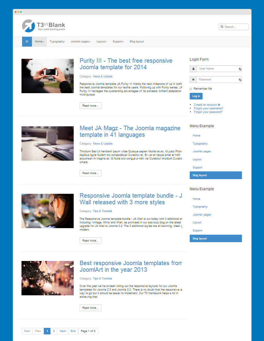 Blog layout front-page