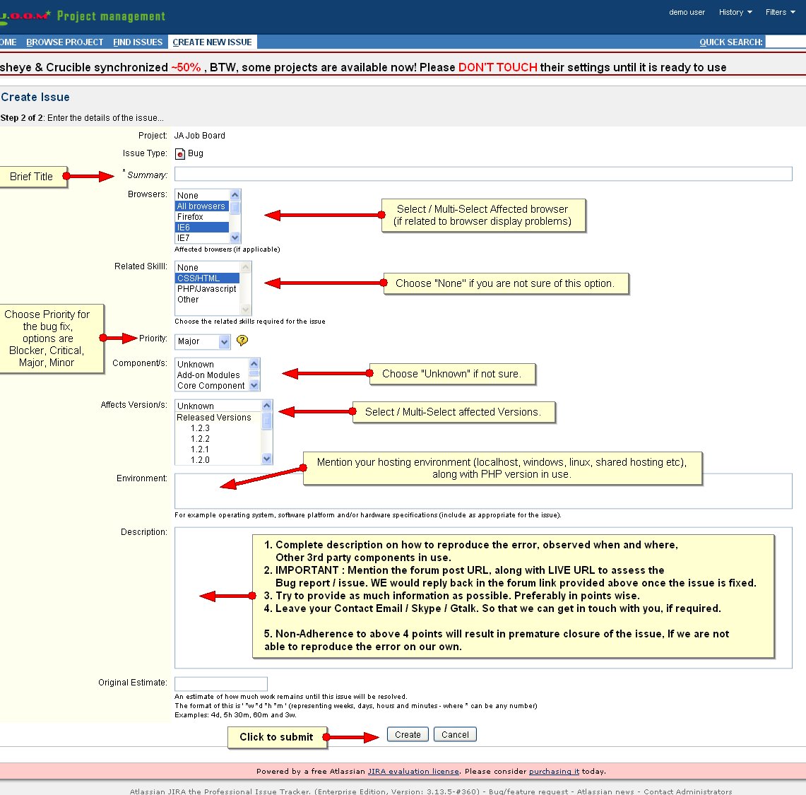 Introducing the new project management for change logs issues – Bug Report Template