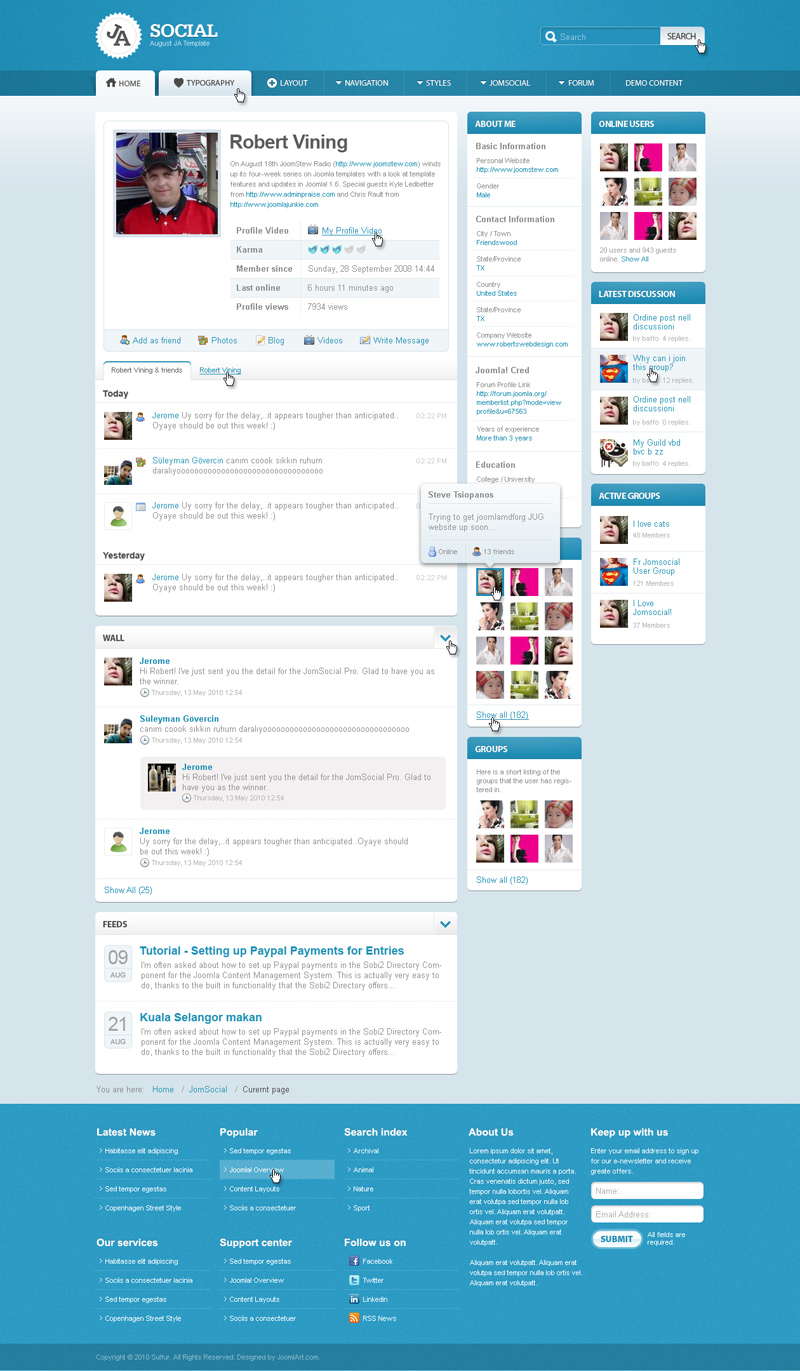 Preview awesome ja social august ja template joomlart profile layout maxwellsz