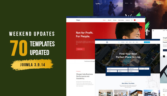 Weekend Updates: T4 Framework and 70 Joomla templates updated