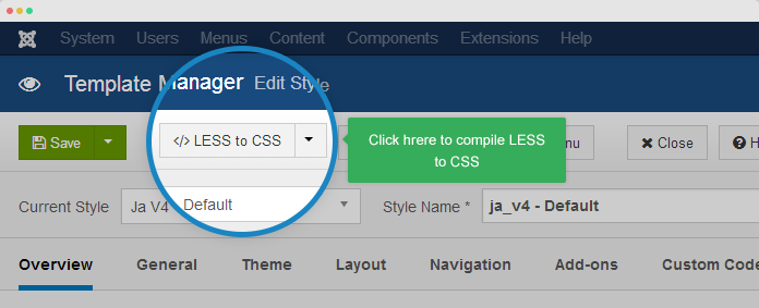 Compile less to css