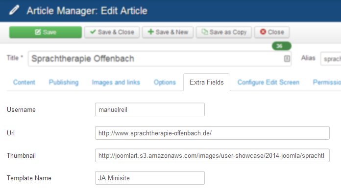 Configure article extra fields