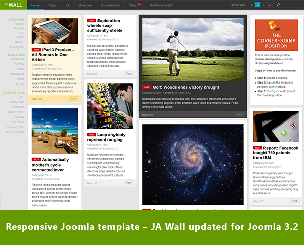 Responsive Joomla template bundle – JA Wall updated for Joomla 3.2