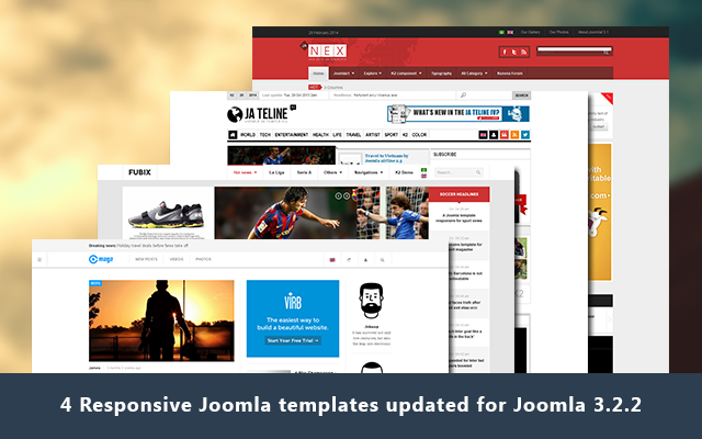 Bundle of 4 Responsive Joomla templates for news now Joomla 3.2 ready