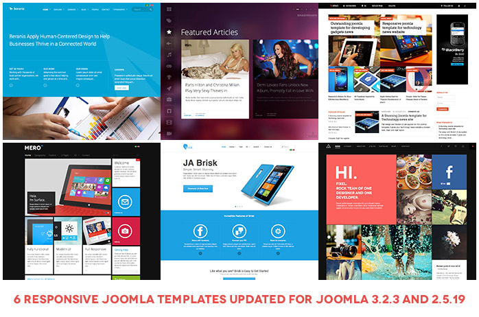 6 Responsive Joomla templates are updated to Joomla 3.2.3 and 2.5.19