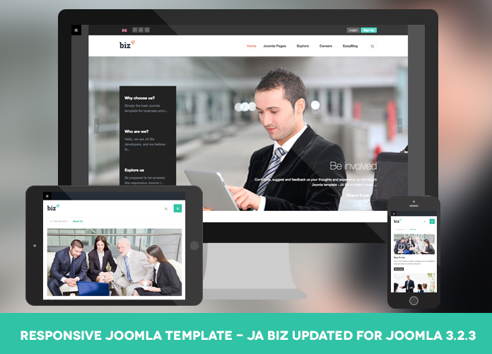 Responsive Joomla template for business - JA Biz updated for Joomla 3.2.3