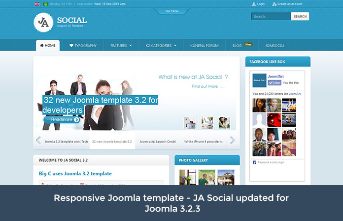 Responsive Joomla template - JA Social updated for Joomla 3.2