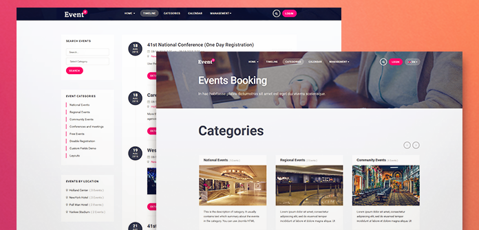 Review ja events ii joomla template for event organizers events registration extension ebooking pronofoot35fo Image collections