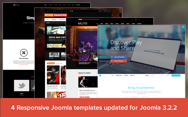 4 Responsive Joomla templates updated for Joomla 3.2.2