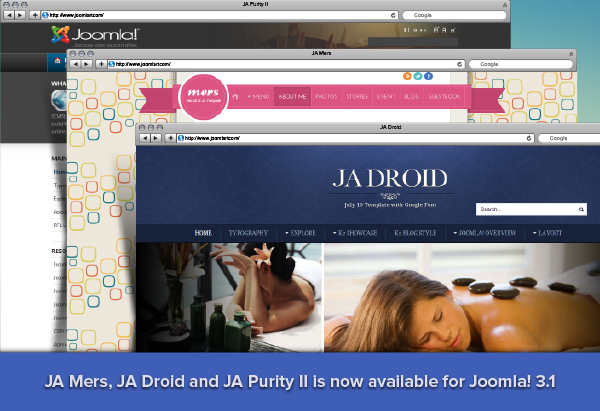 Update : Joomla Templates JA Mers, Droid & Purity II are now available for Joomla 3
