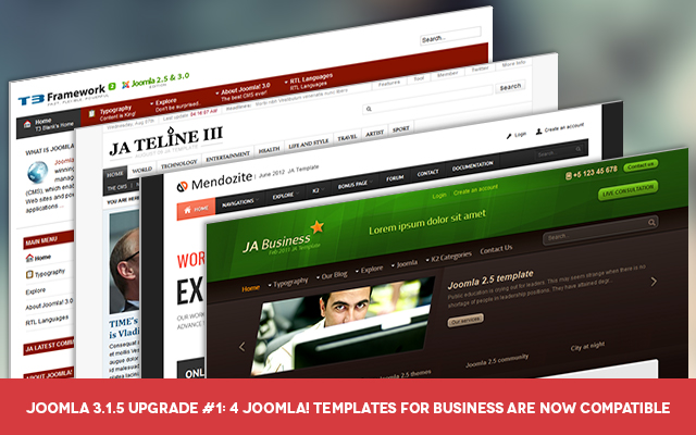 Joomla 3.1.5 upgrade : 4 popular Joomla templates updated