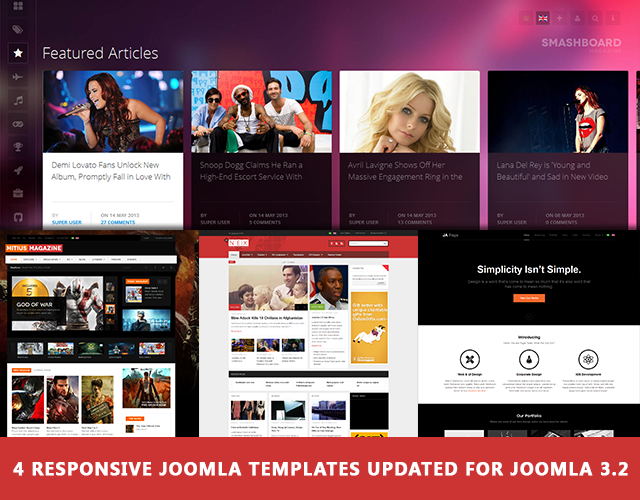 4 more Responsive Joomla templates now available for Joomla 3.2