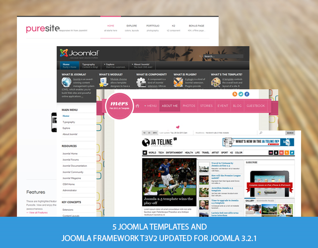5 Joomla templates and Joomla framework T3v2 updated for Joomla 3.2.1