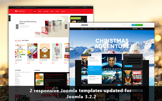 JA Obelisk & JA Bookshop updated for Joomla 3.2.2