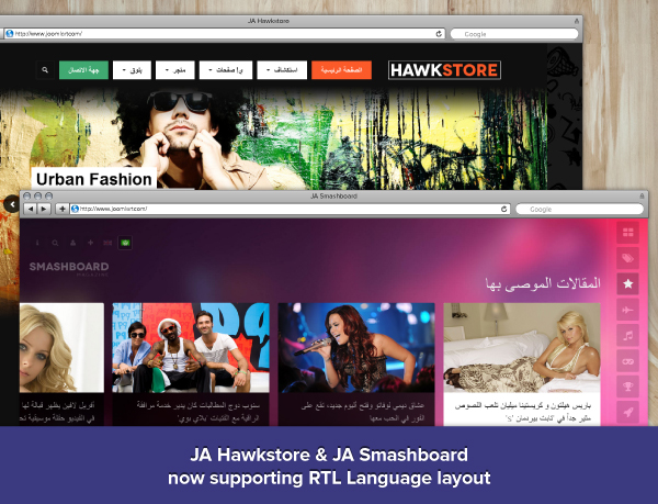 RTL language layout for 2 more Joomla templates: JA Smashboard & JA Hawkstore
