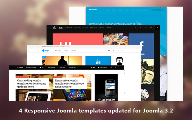 4 Responsive Joomla templates updated for Joomla 3.2