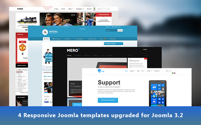 4 additional Responsive Joomla templates geared up for Joomla 3.2