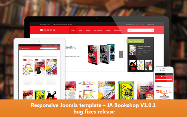 Responsive Joomla template – JA Bookshop V1.0.1 routine bug fixes release