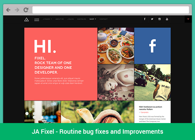 Responsive Joomla template for business eCommerce portfolio - JA Fixel: Routine Bug Fixes release