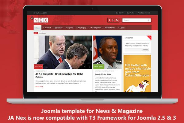 Responsive Joomla template for News - JA Nex now on T3v3 Framework