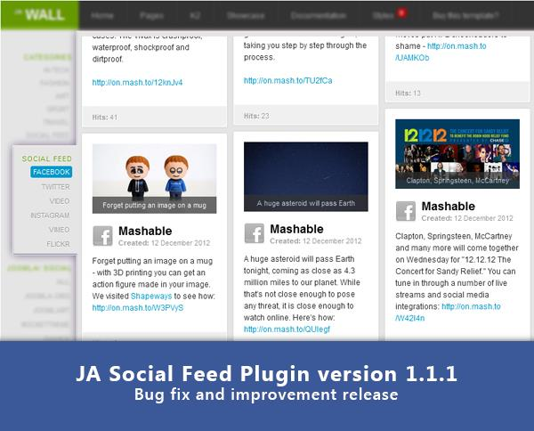 Joomla Extension: JA Social Feed Plugin version 1.1.1 - Bug fix and improvement release