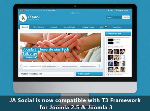 Responsive Joomla template for Social - JA Social now on T3v3 Framework