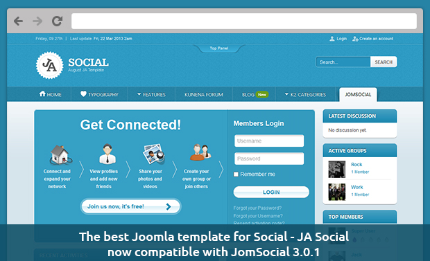The best Joomla template for Social - JA Social now compatible with JomSocial 3.0.1