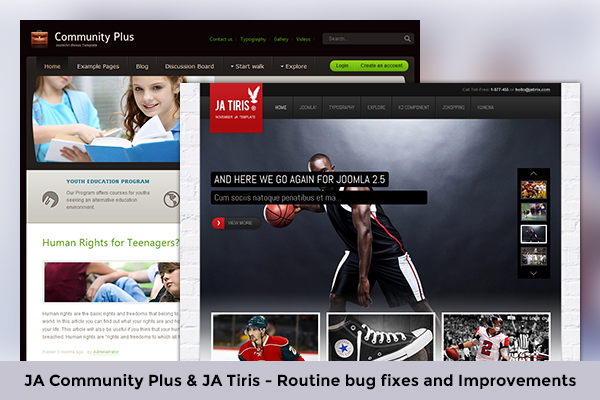 Joomla template for eCommerce and education: JA Community Plus & JA Tiris - Routine bug fixes release