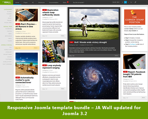 Responsive Joomla template bundle – JA Wall version 1.1.0 updated for Joomla 3.2